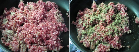 Begin by browning the meat over medium heat. Season liberally with salt, pepper, garlic, and rubbed sage and let cook over low heat until done.