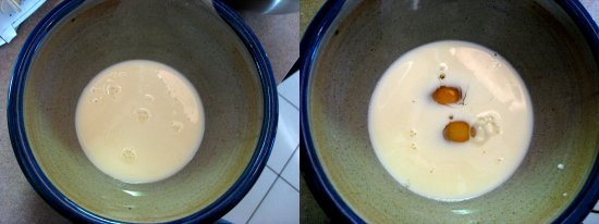 Meanwhile, pour milk into a mixing bowl. Add in 4 eggs.