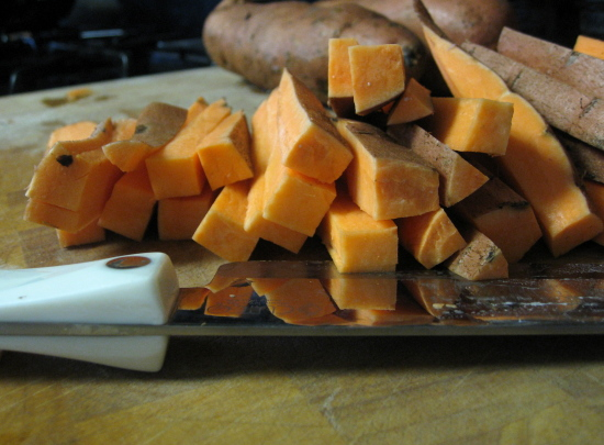 First, cut the sweet potatoes into fries no more than 1/2 in. thick.