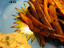 Savory Sweet Potatoes paired with enzyme-rich chipotle cilantro mayonnaise.