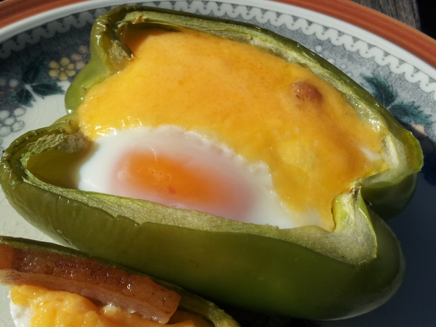 Baked Bell Pepper Basket with Bacon Egg and Cheese
