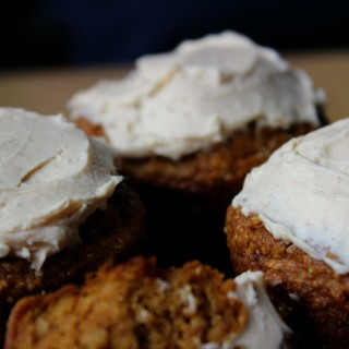 Grain-Free Pumpkin Spice Muffins with Cream Cheese Frosting