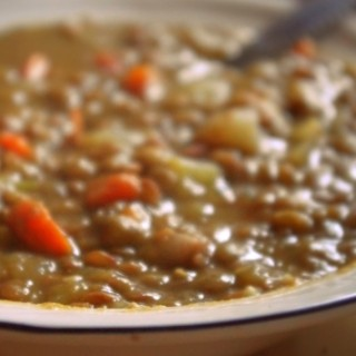 Simple Sprouted Lentil Soup with Bacon