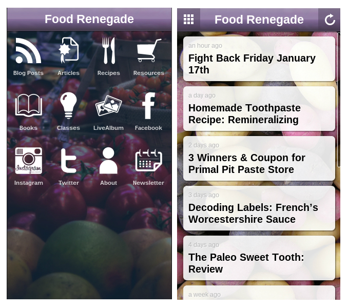Food Renegade App Screens