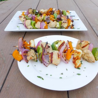 Grilled Halloumi & Chicken Kebobs