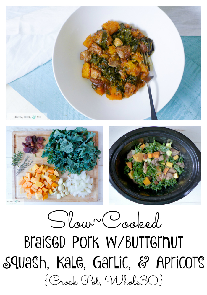 Braised Pork wButternut Squash, Kale, Garlic, & Apricots {Crock Pot, Whole30}